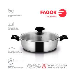 TARTERA CON TAPA DE ACERO INOXIDABLE FAGOR ALAIA 24CM